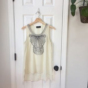Sheer Cream Fab'rik Tank Top with Embroidery